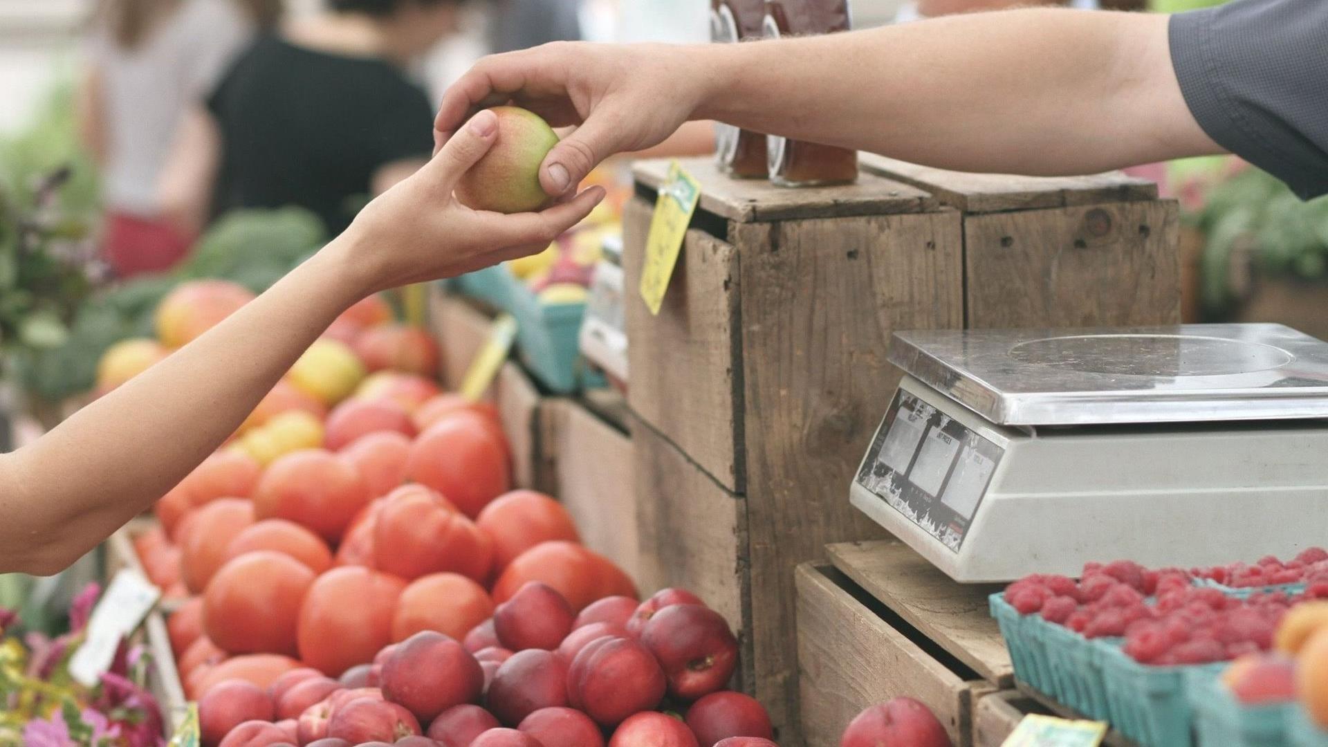 Hand met appels