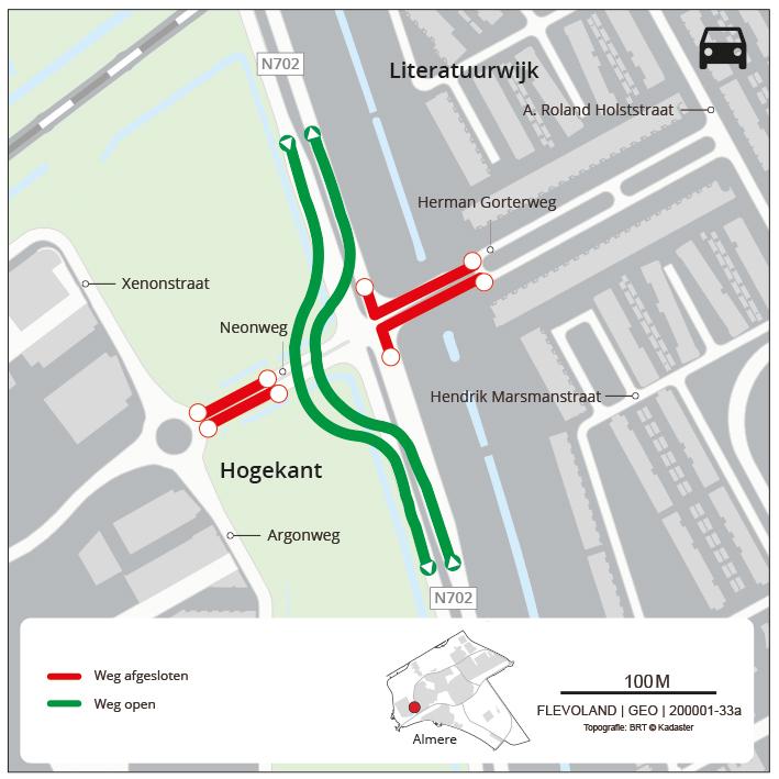 Het doorgaande verkeer op de Hogering rijdt via een bypass langs de werkzaamheden